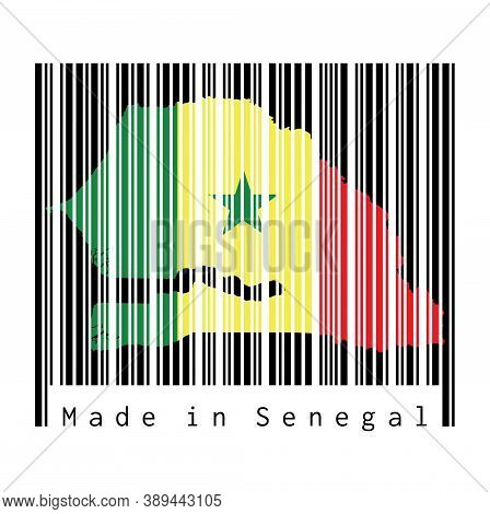 Barcode Set The Shape To Senegal Map Outline And The Color Of Senegal Flag On Black Barcode With Whi