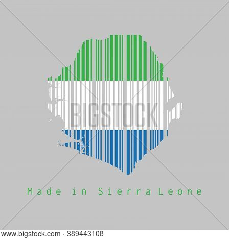 Barcode Set The Shape To Sierra Leone Map Outline And The Color Of Sierra Leone Flag On Grey Backgro