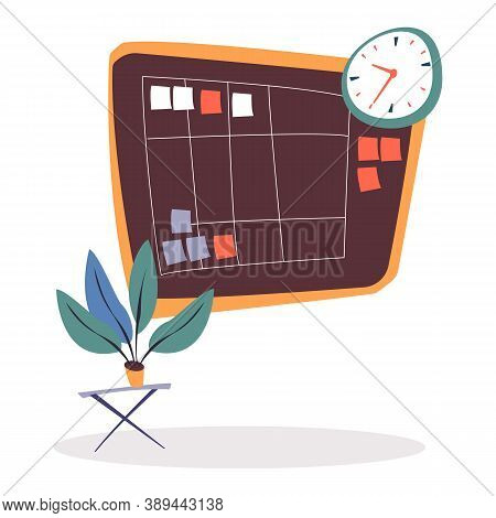 Brown Task Board With Spreadsheet With Tasks, Notes On Pinned Paper Stickers. Clock On Wall And Plan