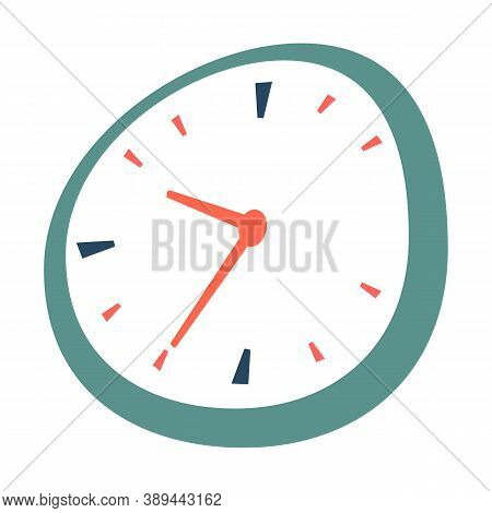 Time Management, Clock Isolated On White Background. Device Measuring Hours And Times. Minimalistic