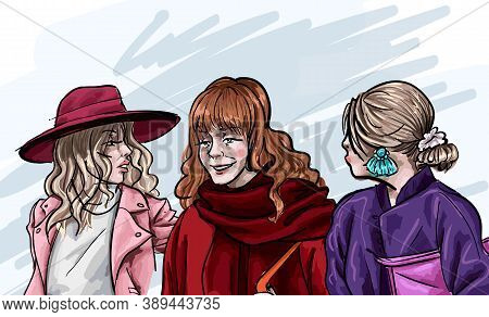 Fashionable Female Characters Talking. Close Friends In Expensive Clothes And Accessories. Rich Peop