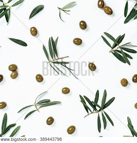 Seamless Pattern With Green Olives And Olives Tree Leaves And Branches On White Background. Olive Ph
