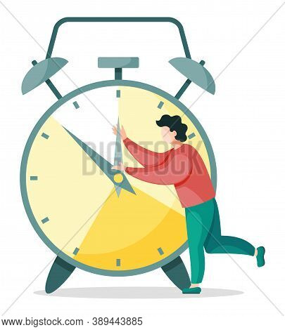 Man Trying To Stop Watch, Work Process Organization, Overtime Planning Isolated Person. Vector Illus