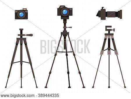 Set Of Isolated Flat Design Modern Professional Studio Flash Light Removable Lens Photocameras With