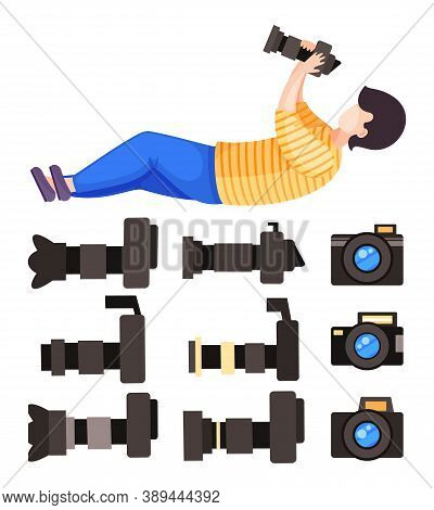 Digital Photocameras Vector Set With Removable Lens, Photography Equipment With Zoom, Front And Side