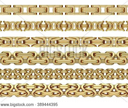 King Chain Set Isolated On White Background - 3d Illustration