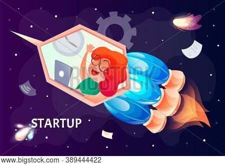 Startup Vector Concept, Bright Colorful Fire Engine Rocket With Female Flying In Universe, Launching