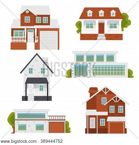 Suburban Modern And Classic Houses Set Of Flat Vector Illustrations Isolated.