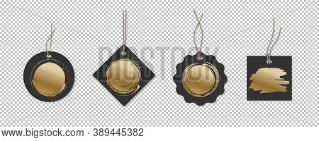Black Price Or Label Tags With Gold Brush Mockup Template Set. Cards With Strings For Sales Of Diffe
