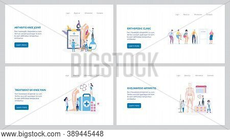 Set Banners For Arthritis And Osteoarthritis Clinic, Flat Vector Illustration.