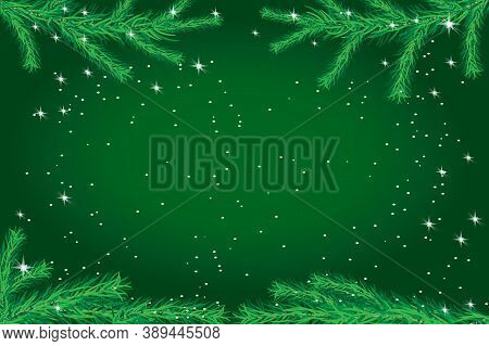 Green Christmas Background With Fir, Stars And Snowflakes. New Year Sale, Holiday Web Banner, Greeti