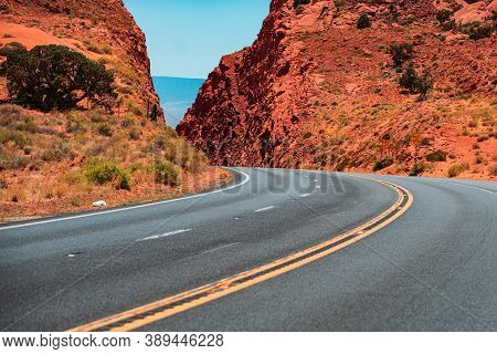 Road In Mountains, Travel Concept And American Roadtrip. Empty Asphalt Highway. Route 66