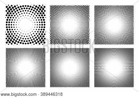 Abstract Dotted Circles Halftone Set. Collection Of Dot Spray Gradation Round Shapes Isolated On Whi
