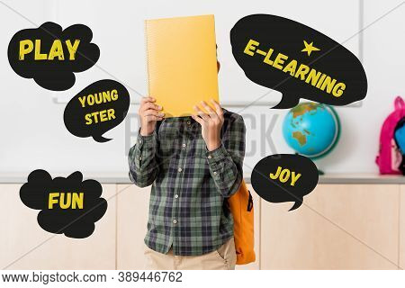Holding Book Near Face And Play, Youngster And E-learning Illustration
