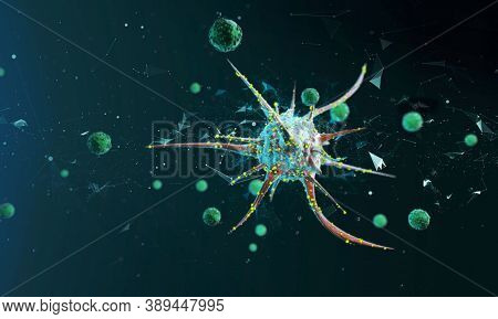 Virus Cells Or Bacteria. Flu And Viral Disease Outbreak, View Of A Virus Under A Microscope, Infecti