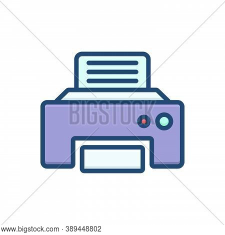 Color Illustration Icon For Fax-message Telecommunications Fax Message Technologies Telefax Communic