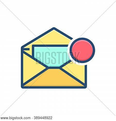 Color Illustration Icon For Inbox-message Inbox Message Notification Communication Envelope Reminder