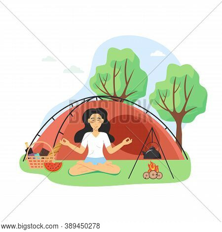 Yoga And Meditation Retreat. Happy Woman Meditating Sitting In Lotus Position By The Campfire, Flat