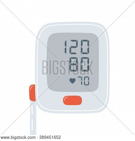 Medical Tonometer And Optimal Blood Pressure. Electronic Blood Pressure Monitor. Digital Sphygmomano