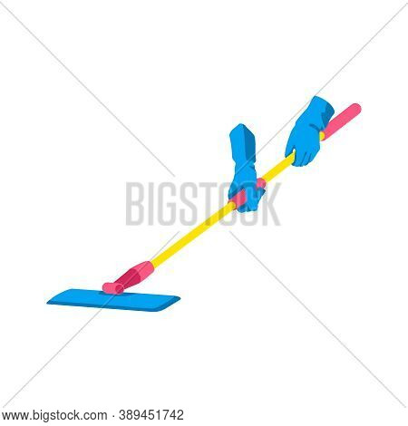 Hand Holding Floor Mop. Human Hands In Blue Rubber Gloves Mopping Floor. Cleaning Service, Housework