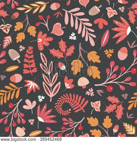 Autumn And Fall Woodland Pattern Design In Warm Colours. Cute Tossed Vector Seamless Repeat Illustra