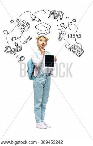 Schoolchild Holding Digital Tablet Near Illustration On White Background