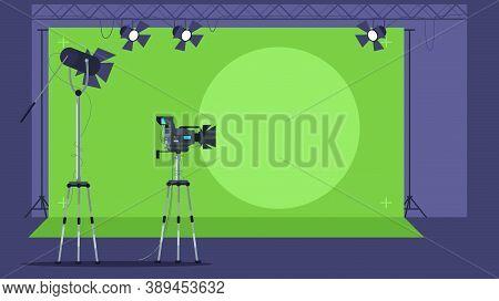 News Show Filming Semi Flat Vector Illustration. Professional Television Camera. Broadcasting Equipm