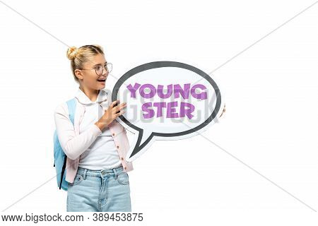 Schoolchild With Holding Speech Bubble With Youngster Lettering Isolated On White