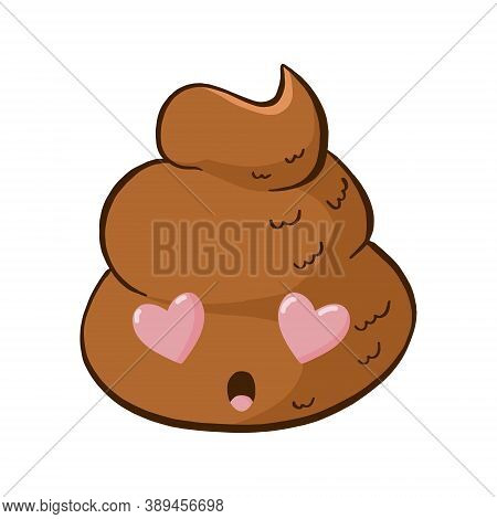 Vector Poop Emoji Fall In Love With Hearts In The Eyes. Cute Funny Poo Emoticon.