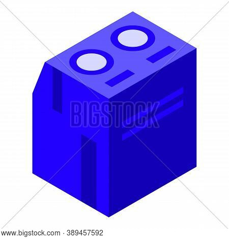 Blue Voltage Regulator Icon. Isometric Of Blue Voltage Regulator Vector Icon For Web Design Isolated