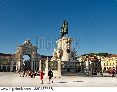 Lisbon, Portugal - October 01, 2019:  People And Tourists  Visiting  The Statue Of King Jose I And T