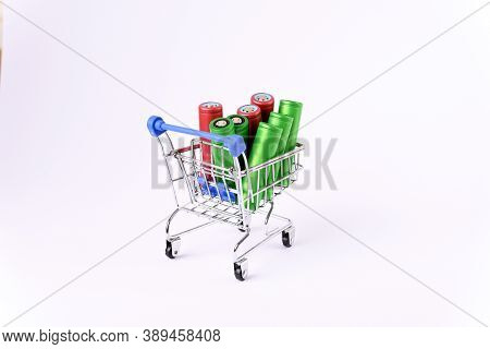 Li Ion 18650  Battery In The Shopping Cart, On The White Background.