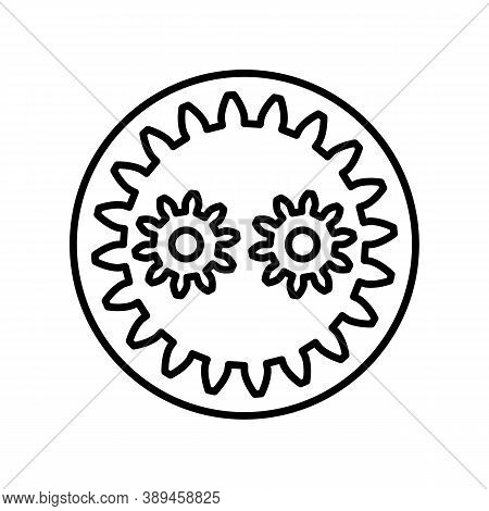 Planetary Gear Outline Icon. Black And White Vector Item From Set, Dedicated To Science And Technolo