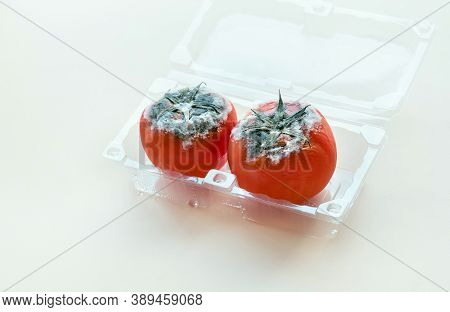 Selective Focus Of Mould On Red Tomato.rotten Product, Spoiled Vegetable.healthy Food.product Develo