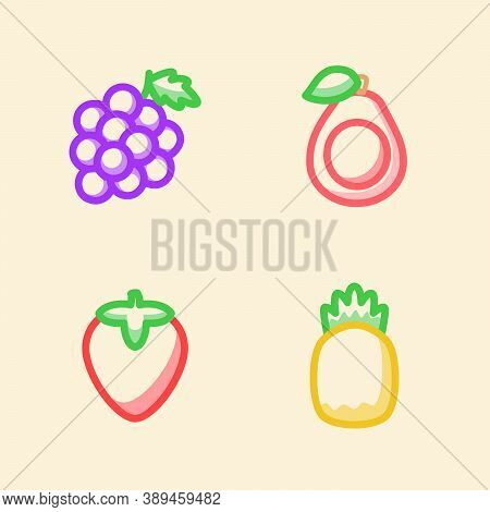 Fruit Icon Set Collection Grape Strawberry Guava Pineapple White Isolated Background With Stroke Col
