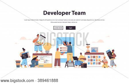 Mix Race Web Developers Team Creating Program Code Application Development Software Programming Conc
