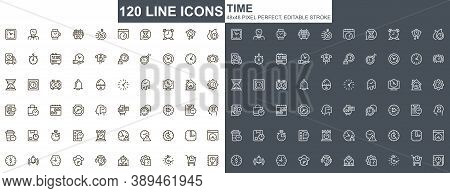 Time Thin Line Icons Set. Business Productivity, Efficiency Unique Design Icons. Time Measuring And