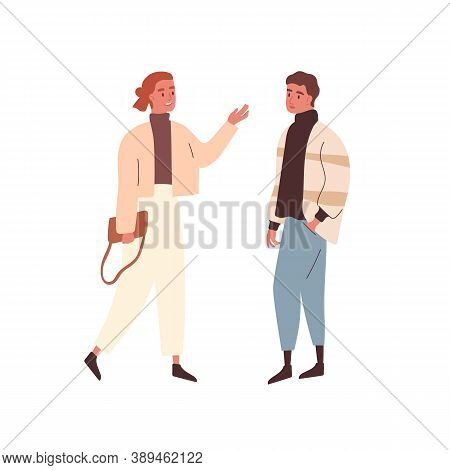 Modern Adult Woman And Man Wearing Casual Outerwear Meet Each Other. Stylish Couple Or Friends Commu