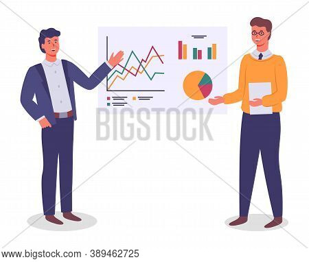 Businessmen, Colleagues Analysing Graphs, Diagram, Chart On White Board. Cartoon Characters Presenti