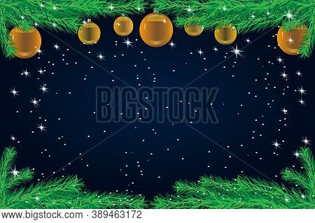 Christmas Background With Fir Branches And Golden Balls. Christmas Tree Border With Holiday Decor On