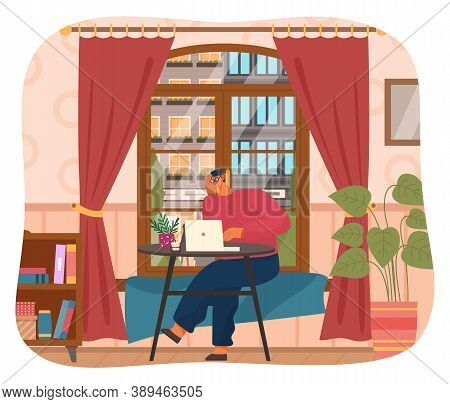 Programmer Man In Eyeglasses With Laptop On Table Sitting And Working At Home, Quarantine Distance W