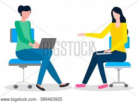 Colleagues Working, Teamwork Process, Office Workers Sitting At Armchairs And Working, Discussing, B
