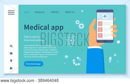 Template Of Landing Page Medical Website. Online Consultation With Doctor. Hand Holding Phone With M