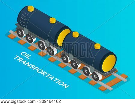 Oil Petroleum Industry Concept. Transportation Oil With Railway Carriage. Isolated Vehicle At Blue B