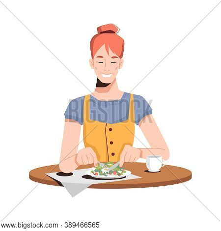 Happy Caucasian Girl Eating Salad Isolated Flat-cartoon Person Dining At Restaurant Or At Home. Vect
