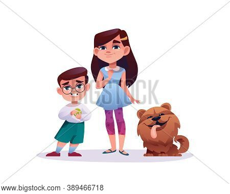 Children With Cute Dog Isolated On White. Vector Cartoon Preschool Boy In Glasses With Ball And Girl
