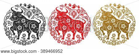 Metal Ox Zodiac Signs In Flower Circles Of Golden, Black And Red Color. Vector Happy Chinese New Yea