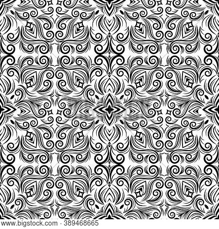 Vector Abstract Black And White Ornament, Curve Swirls Seamless Pattern With Flowers And Curls, Line