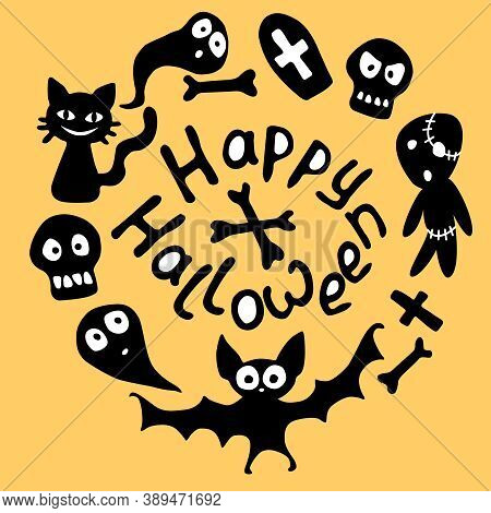 Happy Halloween-lettering And Round Frame With Holiday Characters-cat, Zombie, Bones, Skulls, Bat, G
