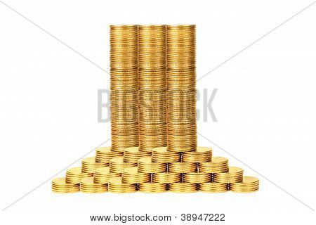 Columns Of Coins From Yellow Metal2